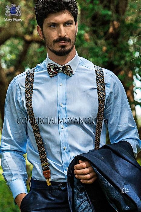 Blue jacquard silk braces 98428-9000-5089 Ottavio Nuccio Gala.