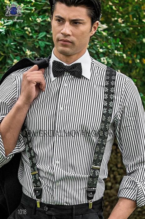 Gray jacquard silk braces 98428-9000-7098 Ottavio Nuccio Gala.
