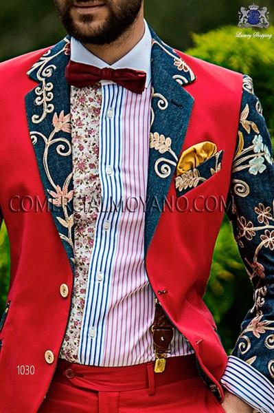 Red jacquard silk braces 98428-9000-3094 Ottavio Nuccio Gala.