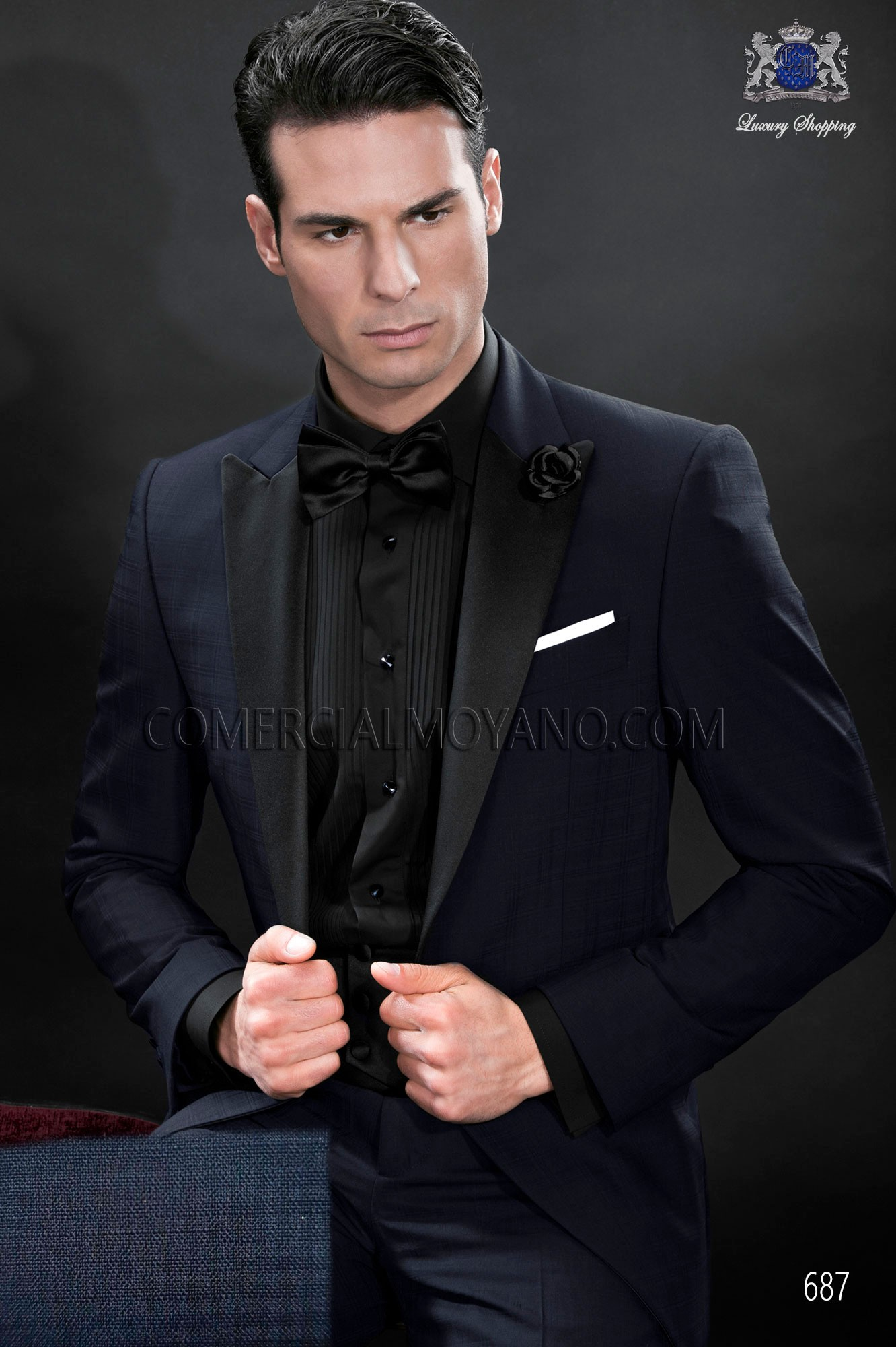 Black Tie blue men wedding suit model 687 Ottavio Nuccio Gala
