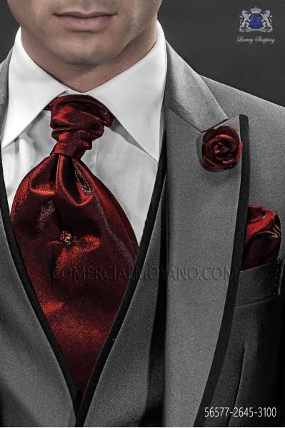 Bordeaux ascot tie and handkerchief 56577-2645-3100 Ottavio Nuccio Gala