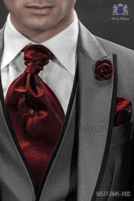 Bordeaux ascot tie and handkerchief 56577-2645-3100 Ottavio Nuccio Gala
