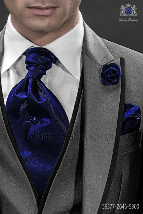 Blue ascot tie and handkerchief 56577-2645-5300 Ottavio Nuccio Gala