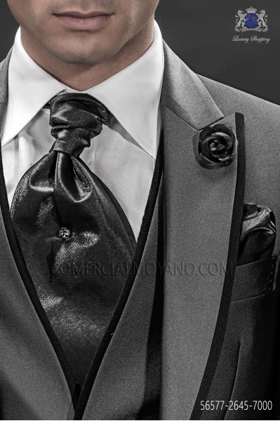 Gray ascot tie and handkerchief 56577-2645-7000 Ottavio Nuccio Gala
