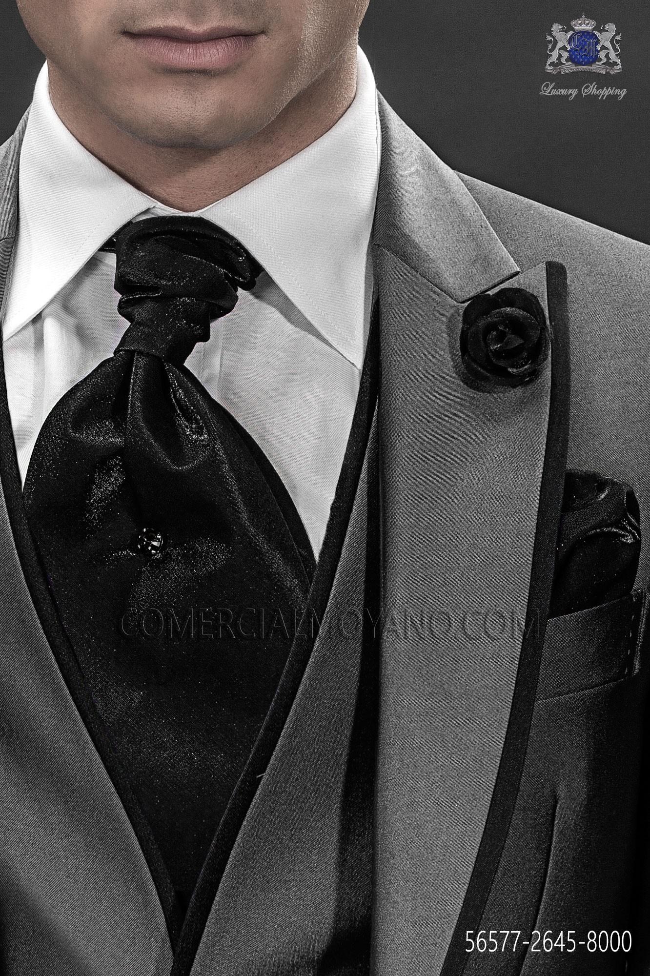 14603b8a440f Black Lurex Ascot Tie With Handkerchief Ottavio Nuccio Gala