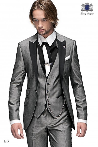 Italian light gray men fashion suit 3 pieces