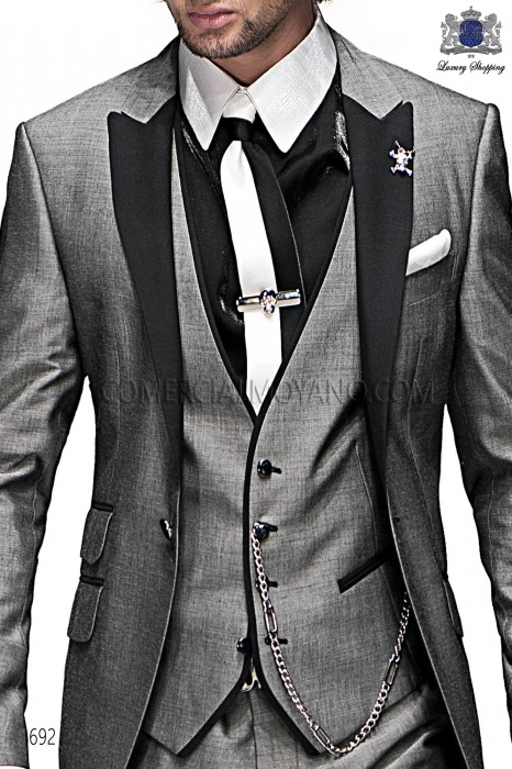 Black and white lurex tie and handkerchief