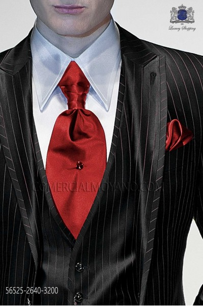 Red ascot tie and handkerchief 5652526403200 Ottavio NUccio Gala