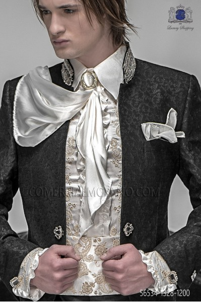 Ivory satin foulard and handkerchief set 56534-1328-1200 Ottavio Nuccio Gala.