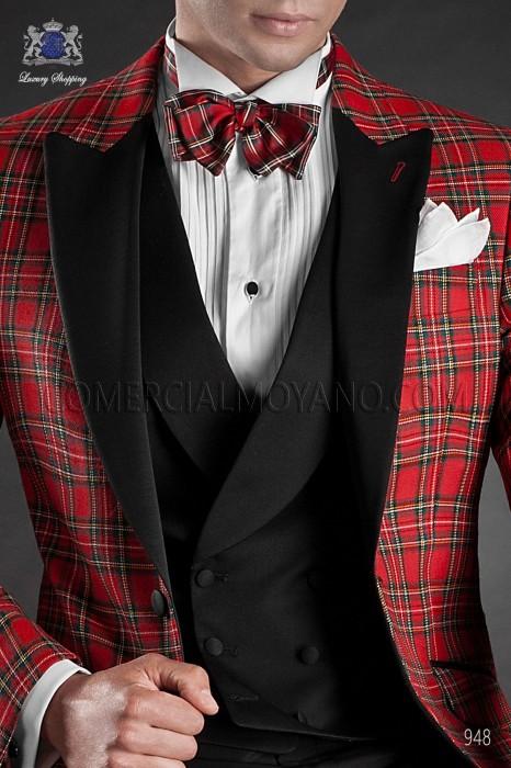 Red tartan silk bow tie. Ottavio Nuccio Gala.