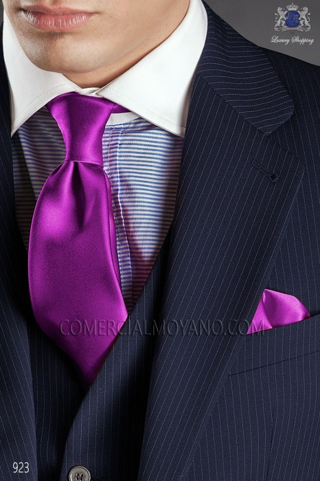 Purple satin tie and handkerchief 56502-2640-3700 Ottavio Nuccio Gala.