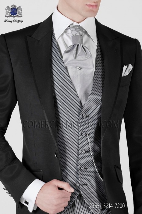 Oblique gray striped groom fashion vest 23651-5214-7200 Ottavio Nuccio Gala
