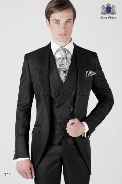 Italian striped black short frock groom suit 753 Ottavio Nuccio Gala