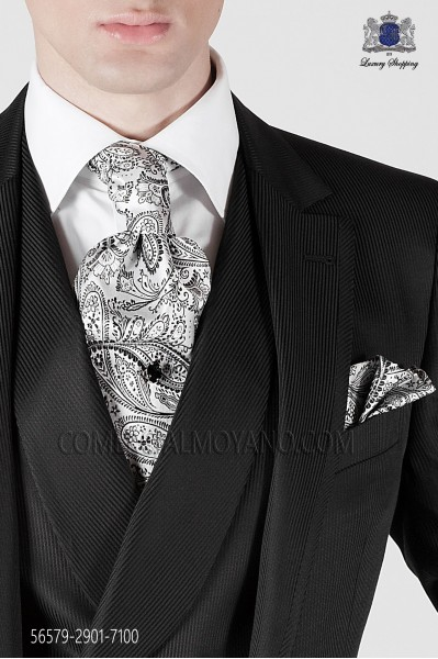 Black cashmere silk tie and handkerchief 56579 Ottavio Nuccio Gala