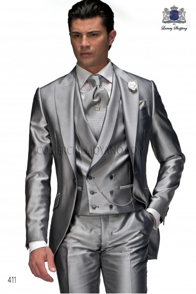 Italian light gray short frock groom suit