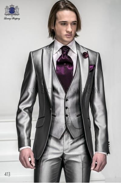 Traje de moda gris plata con vivos 413 Ottavio Nuccio Gala