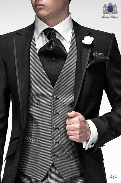 Oblique gray striped groom fashion vest 5214-7300 Ottavio Nuccio Gala.