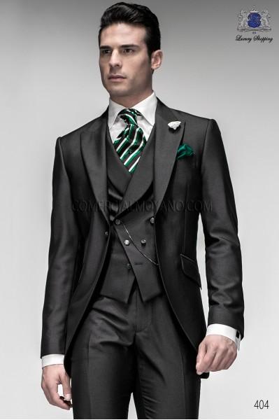 Italian gray short frock groom suit