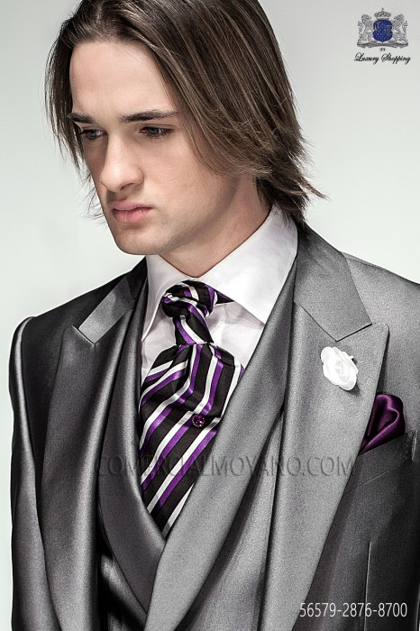 Fashion striped ascot and purple handkerchief 2876-8700 Ottavio Nuccio Gala.