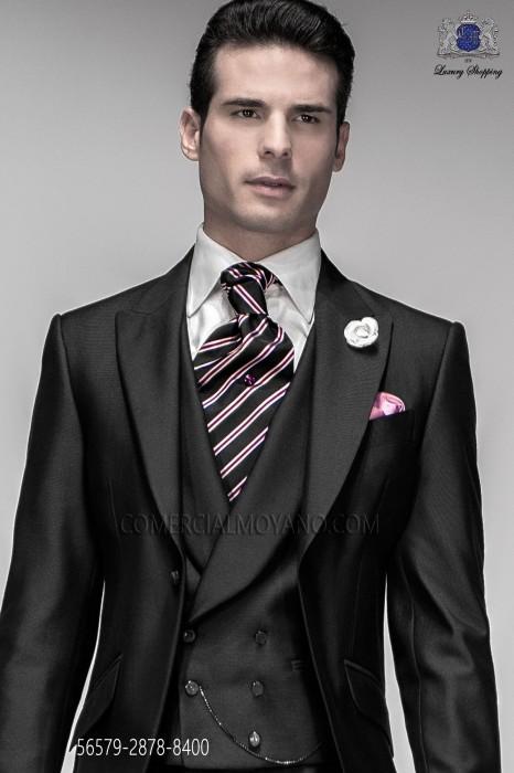 Fashion striped ascot and pink handkerchief 2878-8400 Ottavio Nuccio Gala.