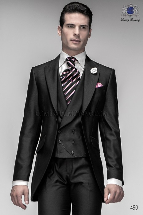Italian gray short frock groom suit 490 Ottavio Nuccio Gala.