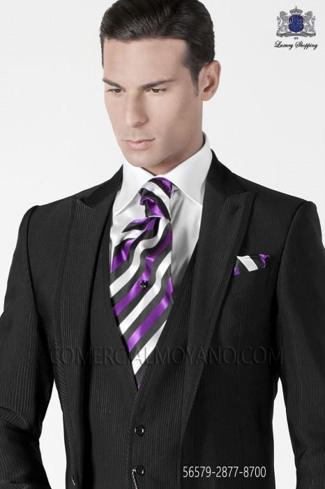 Ascot and handkerchief purple stripes.