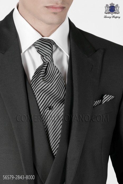 Ascot and handkerchief black stripes 2843-8000 Ottavio Nuccio Gala.