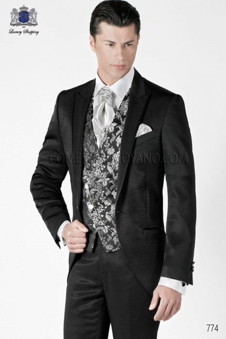 Italian gray short frock groom suit