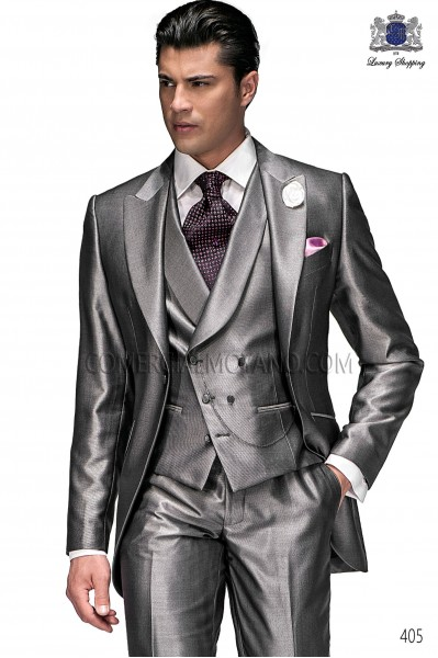 Italian anthracite gray short frock groom suit 405 Ottavio Nuccio Gala.