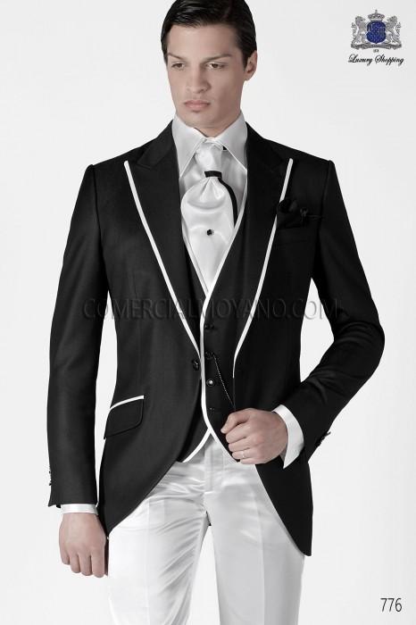 Italian black short frock groom suit 776 Ottavio Nuccio Gala.
