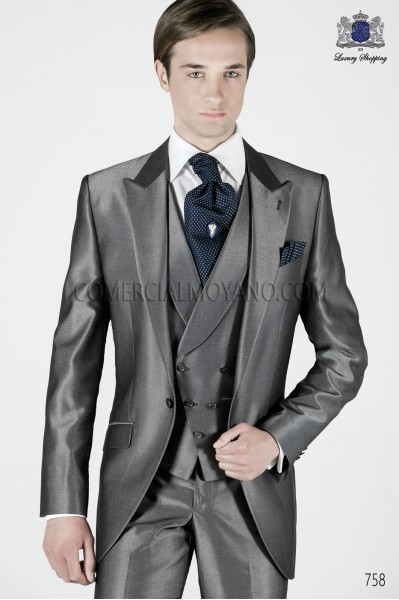 Italian anthracite gray short frock groom suit