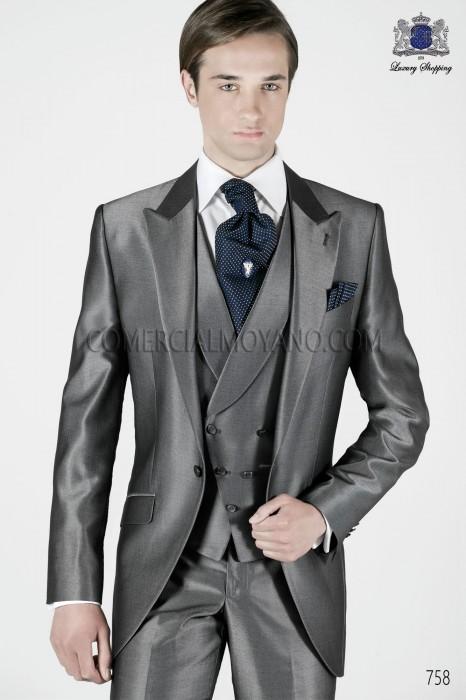 Italian anthracite gray short frock groom suit
