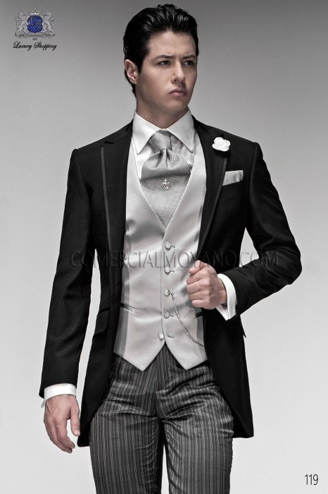 Ascot and pocket handkerchief microdesign silver. Ottavio Nuccio Gala.