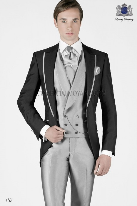 Italian charcoal gray short frock groom suit