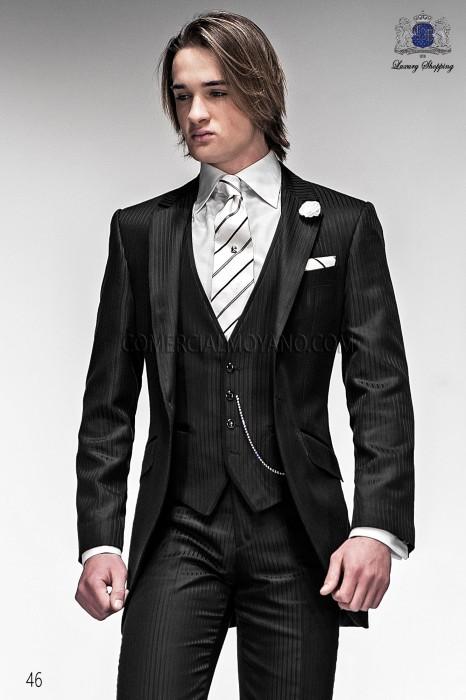 Super Italienne costume de mariage noire courte redingote, Ottavio  QS71