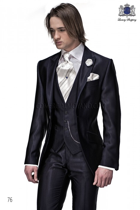 Italian blue short frock groom suit 3 pieces