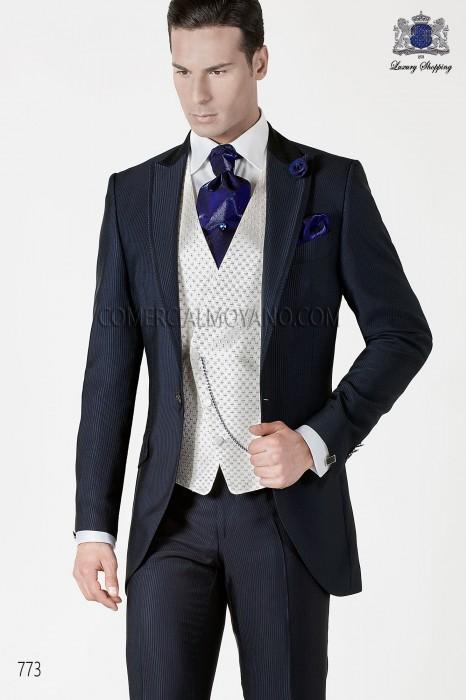 Italian blue short frock groom suit