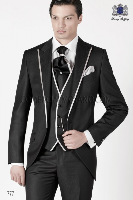 Italian black short frock groom suit 3 pieces