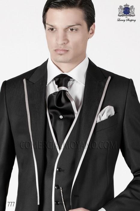 Black and white ascot with white handkerchief Ottavio Nuccio Gala.