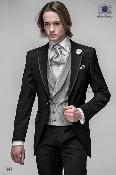 Italian black short frock groom suit