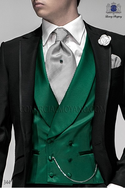 Double-breasted green waistcoat