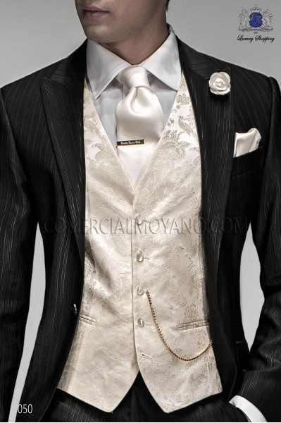 White groom waistcoat in silk jacquard fabric