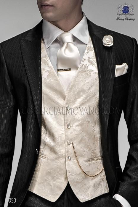 White groom waistcoat in silk jacquard fabric