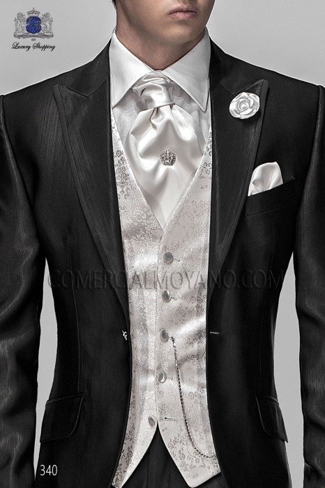 Pear gray groom waistcoat in silk jacquard fabric