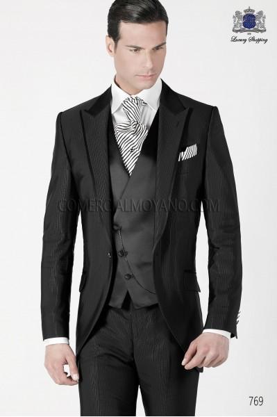 Italian black short frock groom suit