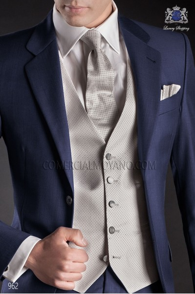 Pearl gray silk men waistcoat 23657-2883-7300 Ottavio Nuccio Gala