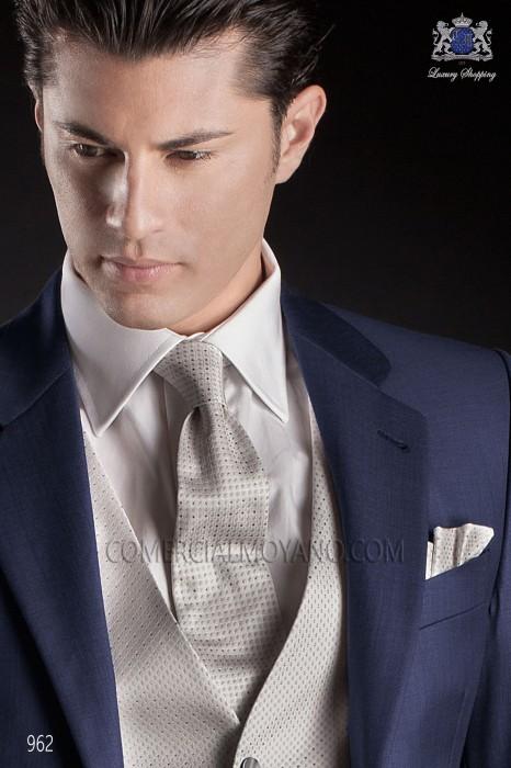 Gray pure silk tie & handkerchief 56502-2883-7300 Ottavio Nuccio Gala