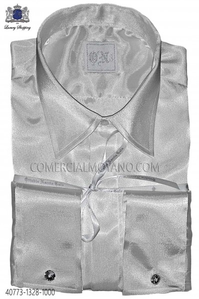 Natural white satin shirt Ottavio Nuccio Gala