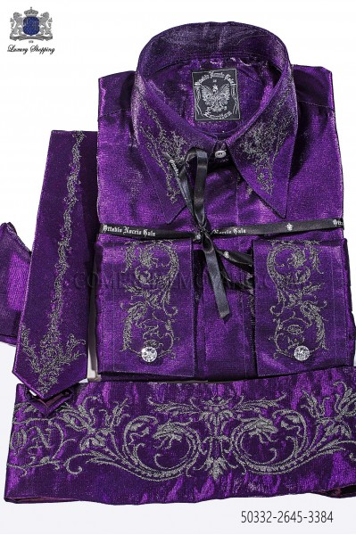 Purple lurex shirt and accesories 50332-2645-3384 Ottavio Nuccio Gala