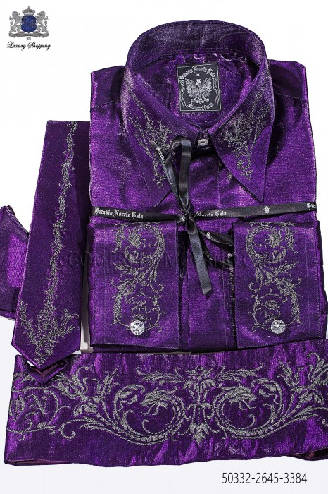 Purple lurex shirt and accesories 50332-2645-3384 Ottavio Nuccio Gala